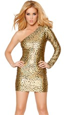 Single Shoulder Sexy Cheetah Dress