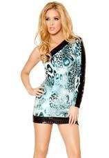Wild Animal Single Shoulder Sequin Dress