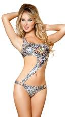Metallic Silver Leopard Asymmetrical Monokini