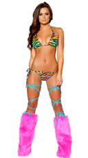 Rainbow Zebra Side Tie Bikini Set