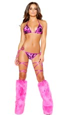 Hot Pink Flame Bikini Set