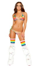 Sexy Metallic Pastel Rainbow Bikini Set