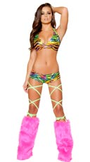 Rainbow Zebra Halter and Short Set