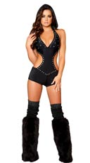 Rhinestone Studded Romper with Detachable Hood