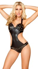 Studded Leatherette Bodysuit