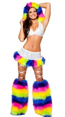Rainbow Fur Trimmed Halter and Skirt Set