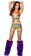 Strapped Rainbow Zebra Romper