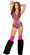 Hot Pink Swirl Front Tie Romper