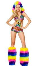 Rainbow Zebra Romper with Rainbow Fur