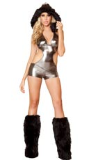 Sexy Metallic Romper with Black Fur Trimmed Hood