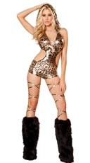 Gold Leopard Print Romper with Detachable Hood