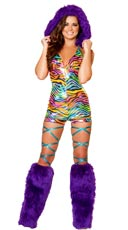 Rainbow Zebra Romper with Fur Trimmed Hood