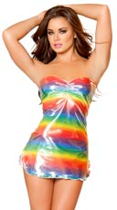Metallic Rainbow Pucker Top Mini Tube Dress