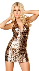 Golden Leopard Puckered Halter Dress