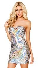 Iridescent Leopard Pucker Back Mini Dress