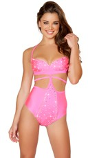 Strapped Bodysuit with Rhinestones