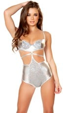 Silver Strappy Sequin Bodysuit
