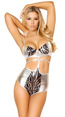 Strappy Sequin Zebra Bodysuit
