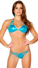 Metallic Turquoise Triple Strap Bikini with O-Rings