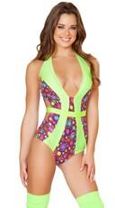 Neon Dots Halter Top Bodysuit