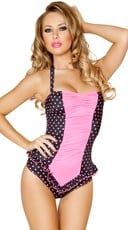 Black and Pink Scrunched Front Pinup Romper