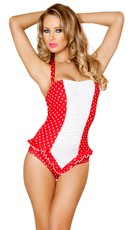 Red and White Scrunched Front Pinup Romper