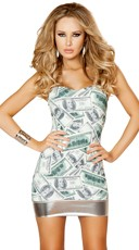 Dollar Bill Strapless Tube Dress