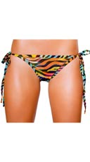 Rainbow Zebra Full Back Bikini Bottom