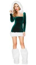 Green Velvet Elf Beauty Costume