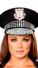 Rhinestone Studded Police Hat