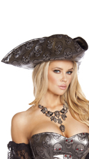 Skull Embossed Pirate Hat