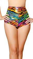 Rainbow Zebra High Waisted Shorts