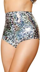 Silver Leopard High Waisted Shorts
