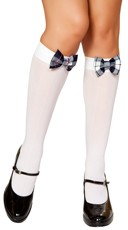 Knee Highs with Plaid Bows