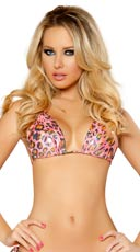 Metallic Pink Leopard Triangle Top