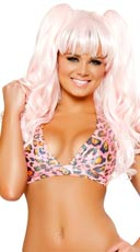 Pink Leopard Hooded Halter Top