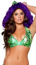 Electric Green Swirl Hooded Halter Top