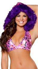Pink Dot Halter Top with Removable Hood
