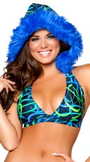 Blue Swirl Halter Top with Removable Hood