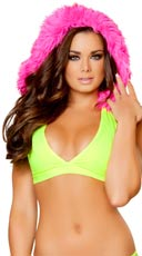 Neon Halter Top with Removable Fur Hood