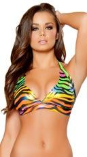 Rainbow Zebra Halter Top