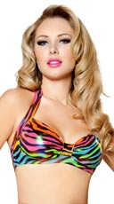 Rainbow Zebra Halter Top