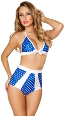 Blue and White Tie Front Halter Top