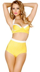 Yellow and White Pinup Halter Top