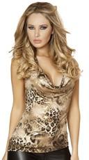 Deep Cowl Leopard Print Halter Top