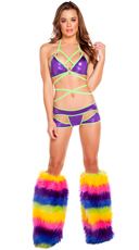 Two Tone Bikini Set with Rainbow Leg Warmers