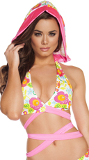 Floral Wrap Around Top with Attached Hood