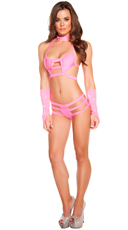 Triple Strapped Diamond Bikini Set with Gloves