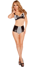 Leatherette and Fishnet Bikini Set