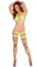 Lime Diamond and Triple Strapped Bikini Set
